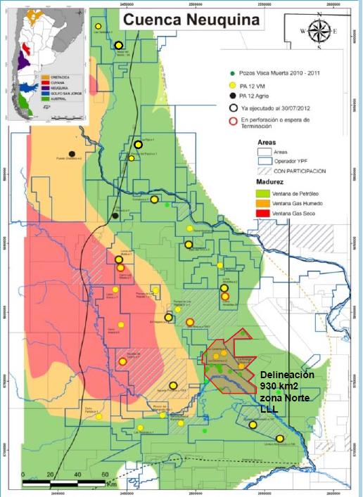 Mapa cuenca Neuquina Vaca Muerta tipos de gas