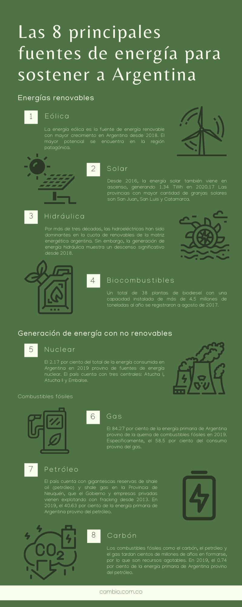 gráfico sobre Las 8 principales fuentes de energía para sostener a Argentina